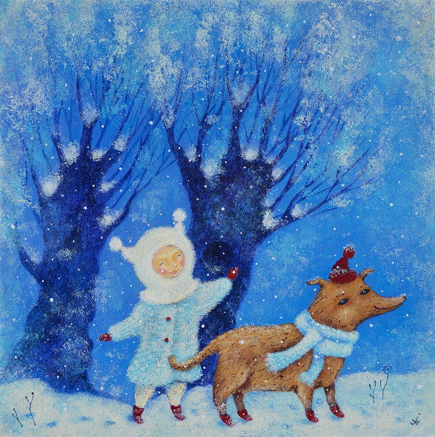 зима детства, собачка, картина для детской, скоро новый год