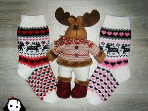 Новинка магазина - носки с оленятами. Ярмарка Мастеров - ручная работа, handmade.