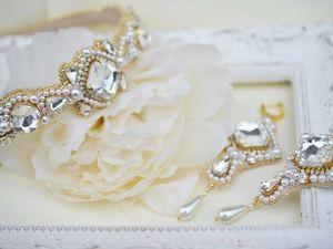 Свадебный комплект украшений для невесты из тиары серёг и браслета. Ярмарка Мастеров - ручная работа, handmade.