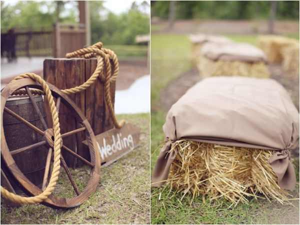 rustic wedding decor and hay bale ceremony seating, photo by <a href=