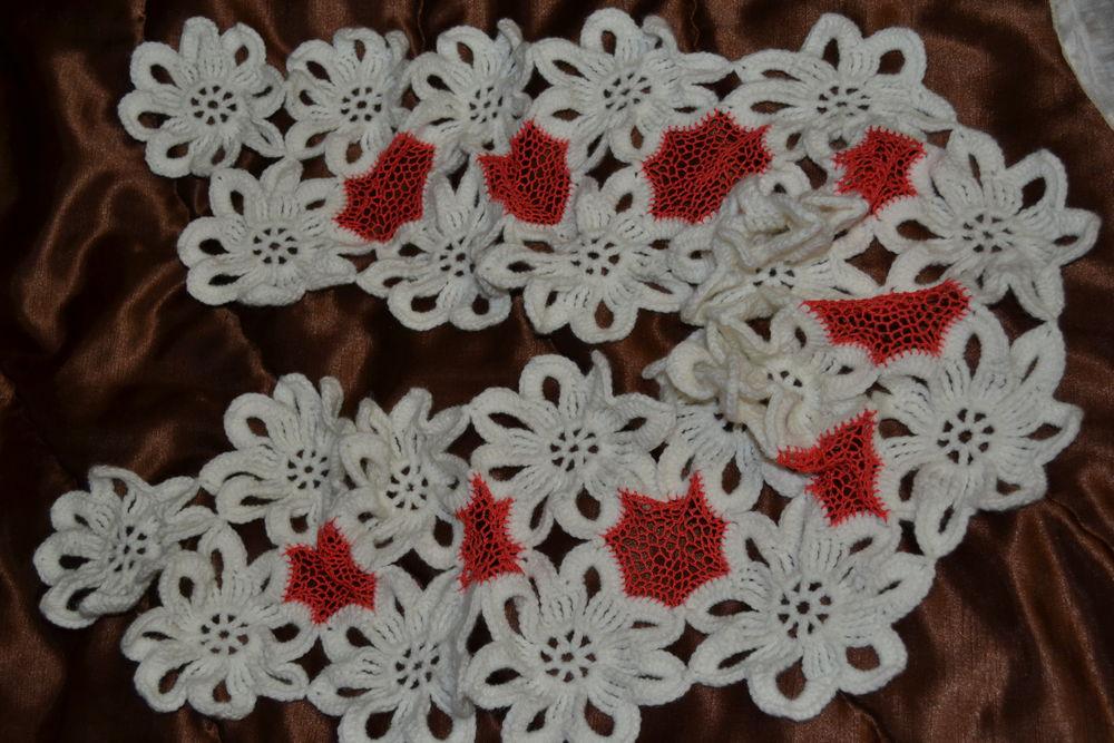 шарф, шарф вязаный, шарф коралловый, шарф с ирландской сеткой, шарф крючком, шарф ажурный, шарф из мотивов, шарф в подарок, шарф женский, подарок к новому году