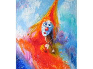 Картина маслом Клоун Романтичность. Ярмарка Мастеров - ручная работа, handmade.