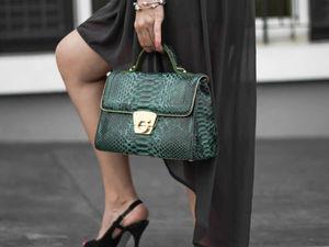 Зеленая сумка из кожи питона премиум класса. Ярмарка Мастеров - ручная работа, handmade.