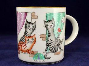 Кошки в окошке: расписываем фарфоровый бокал керамическими красками. Ярмарка Мастеров - ручная работа, handmade.