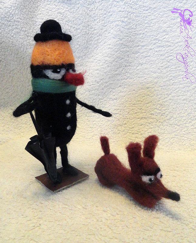 Моркоу с собачкой валяная игрушка - автор Стася Александрова