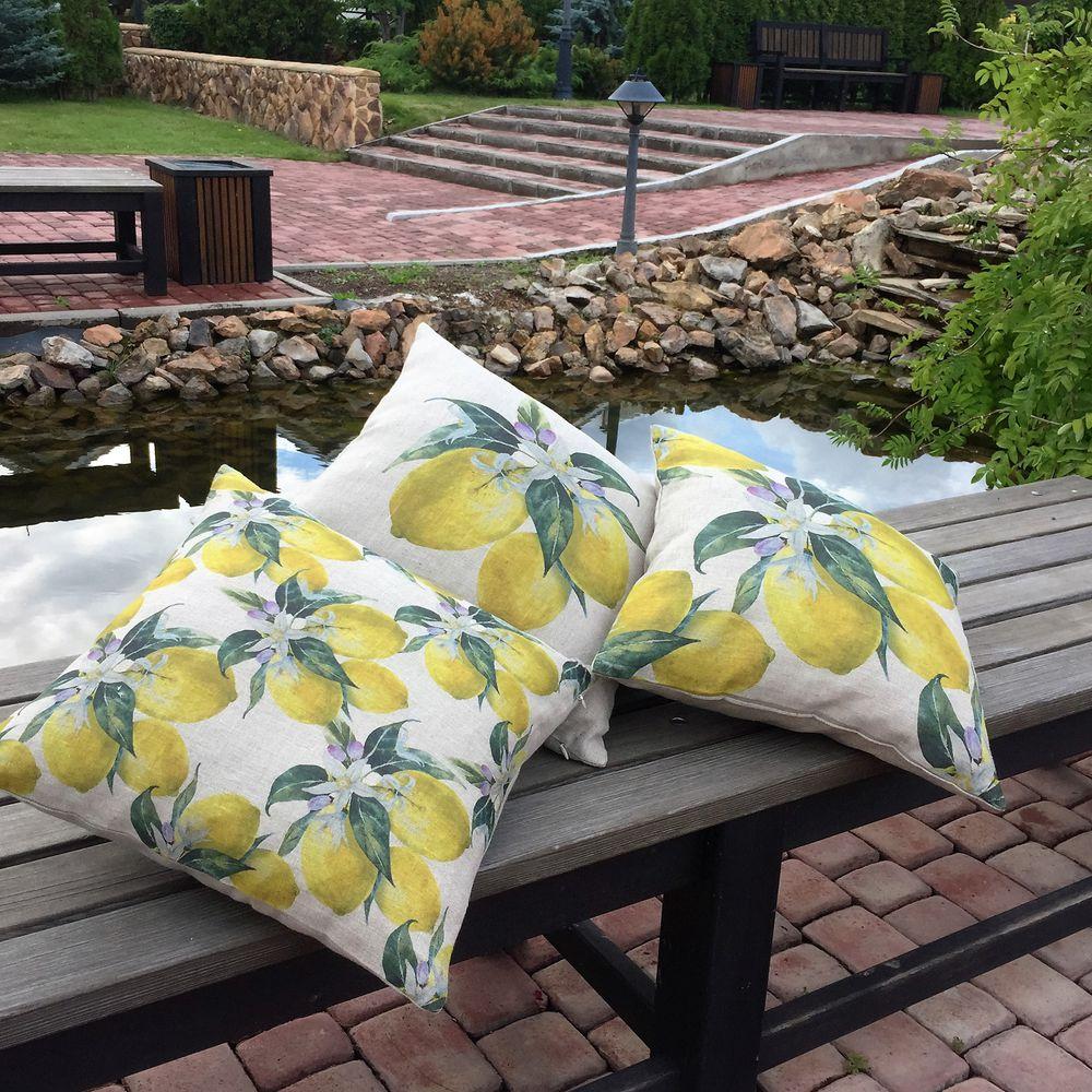 лимон, подушка декоративная, подарок маме, уютный дом, лён