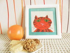 Быстрый аукцион с нуля на смешную картину Кот Апельсин.. Ярмарка Мастеров - ручная работа, handmade.