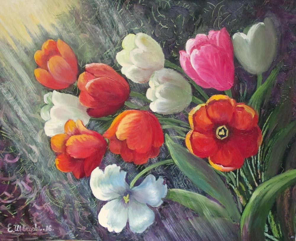 тюльпаны, картина маслом, яркая картина, красный цвет, белый цвет, солнечный, авторская картина, картина для интерьера, картина с цветами