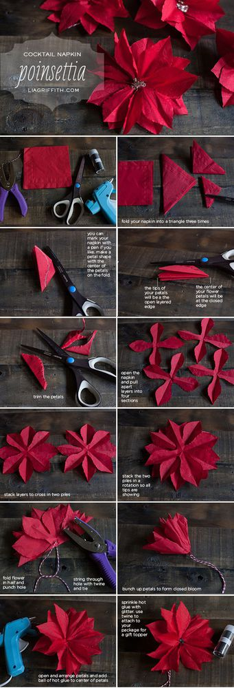 Paper Poinsettia Tutorial - by Lia Griffith -- <a href=