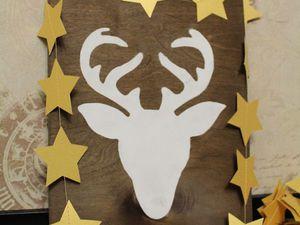 Деревянное панно с оленем к Новому году. Ярмарка Мастеров - ручная работа, handmade.