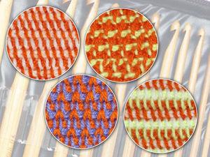 Вязание для начинающих: 4 простых цветных узора тунисским крючком. Ярмарка Мастеров - ручная работа, handmade.