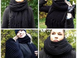 Новинка - большой черный шарф. Ярмарка Мастеров - ручная работа, handmade.