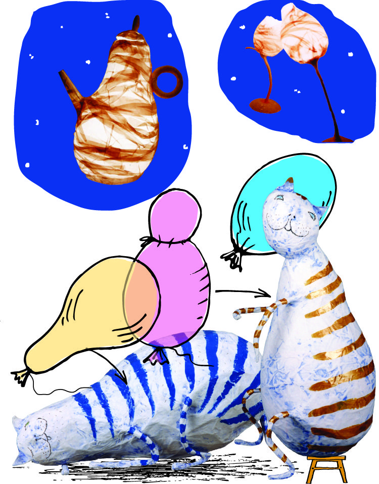 сделай сам, мастер-класс, папье-маше, воздушный шар, коты, бумага, бумагопластика, абажур, бумага ручной работы, книга, досуг