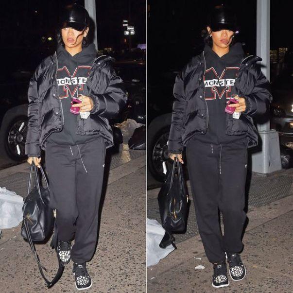 Любительница пуховиков Rihanna