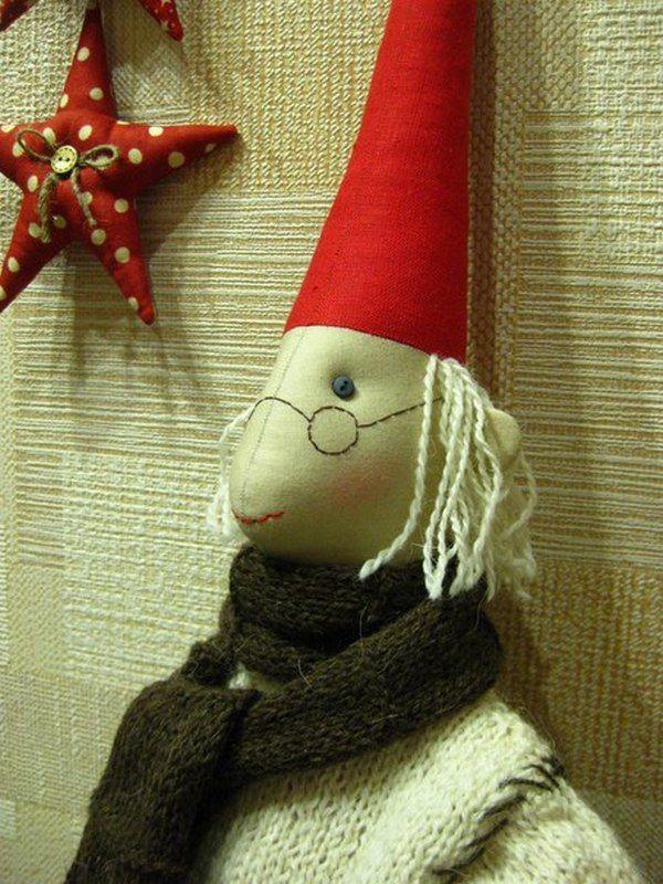 рождественский декор, кукла в подарок, лен, ручная работа