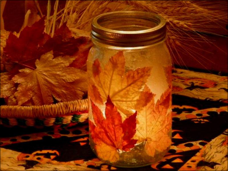 Поделка в банке с глицерином осень