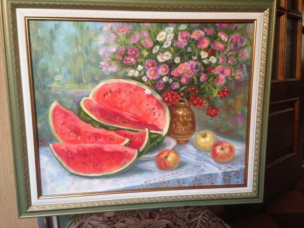 подарок, подарок женщине, дом, уют, картина, картина маслом, арбуз, цветы, день рождения
