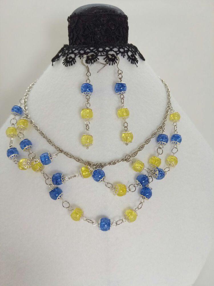 имитация камня, синий, желтый цвет, серьги, стильный аксессуар, украшения ручной работы