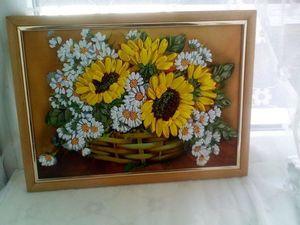 Скидка на картину цветов с подсолнухами и ромашками. Ярмарка Мастеров - ручная работа, handmade.
