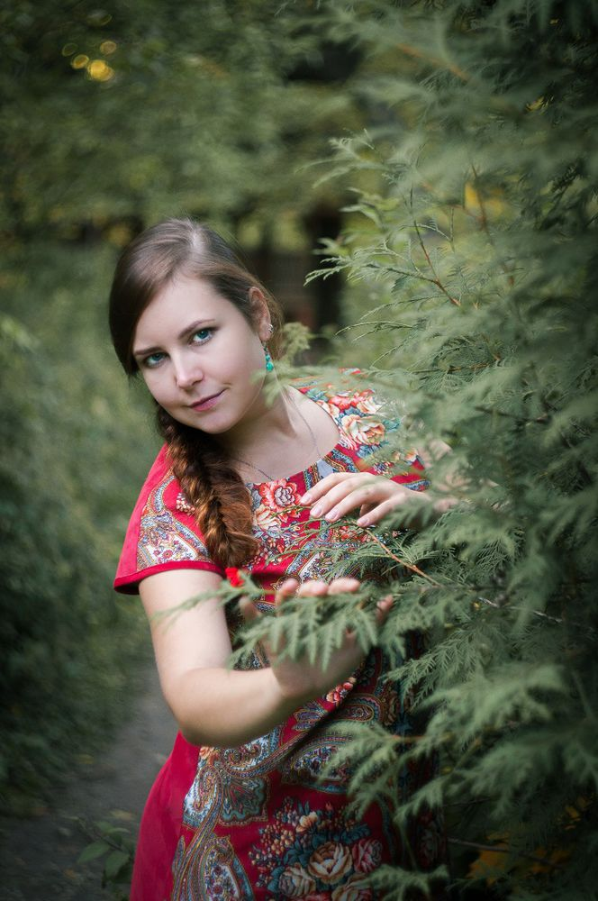русский стиль, платье из платка