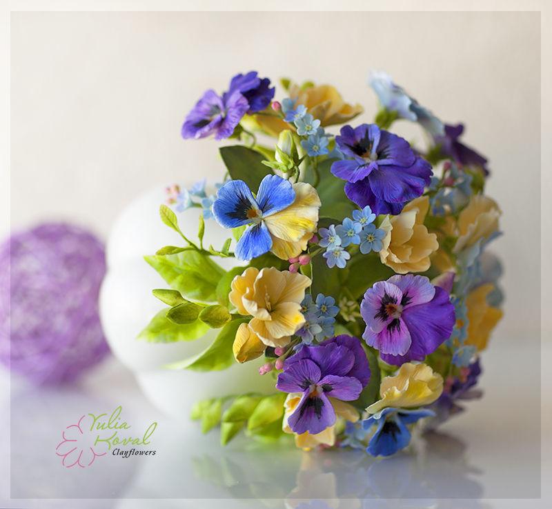 цветы из глины, подаолк маме