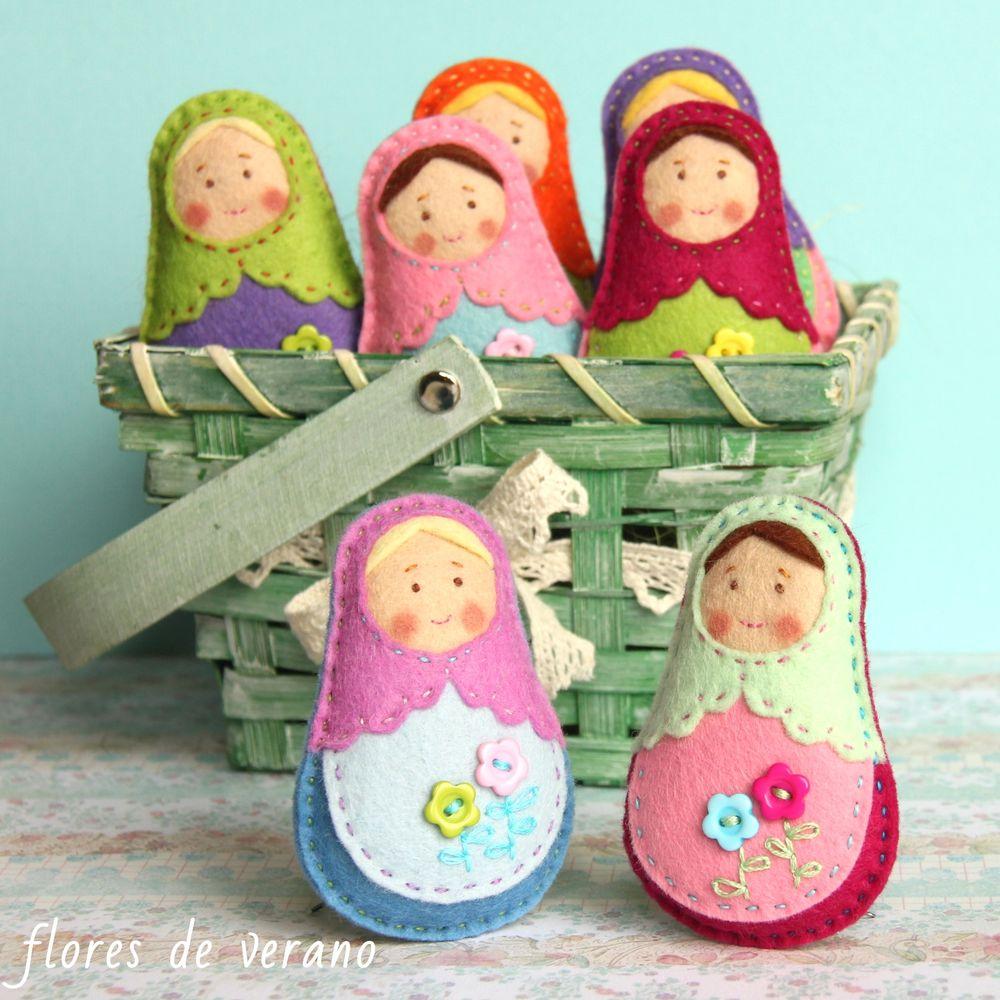 игрушки из фетра, матрешка из фетра, текстильная кукла