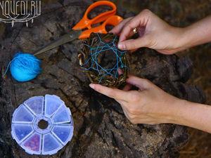 Плетем паутину в ловце снов. Ярмарка Мастеров - ручная работа, handmade.