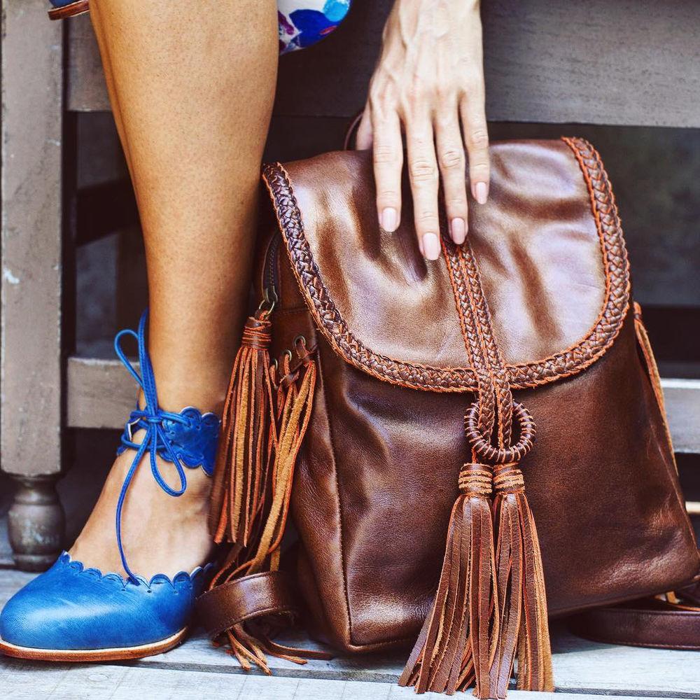 рюкзак из кожи, стиль бохо