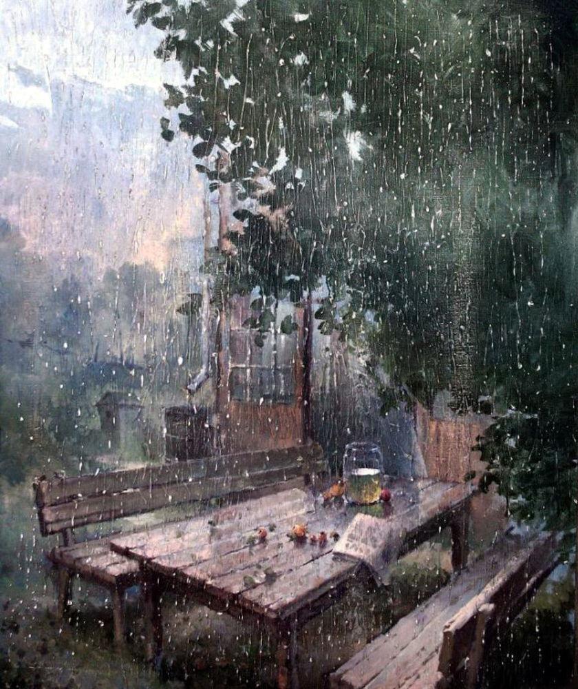 картина с дождем