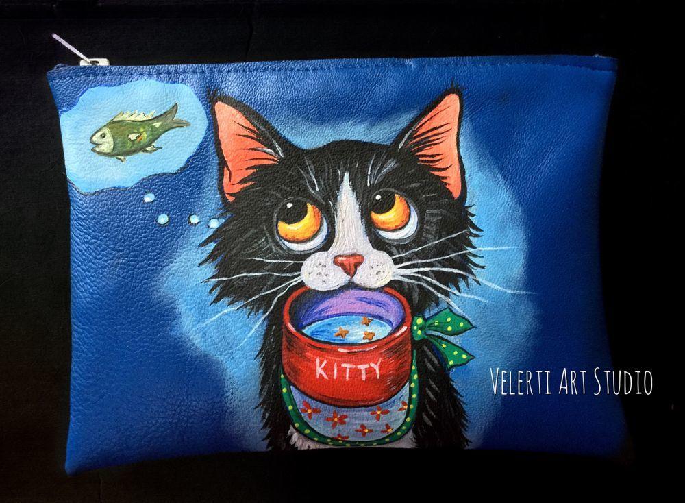 аукцион, аукцион сейчас, косметичка в подарок, ручная роспись, кошки, для женщин, в подарок