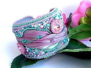 "How to Sew a Wonderful ""Primavera"" Bracelet Using Shibori Ribbon. Livemaster - handmade"