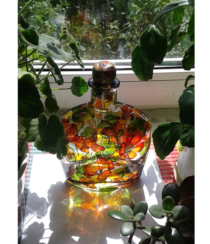 витражные краски, авторская роспись стекла, бутылка для вина