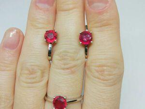 Комплект Spring Red с натуральным рубин в серебре!!! | Ярмарка Мастеров - ручная работа, handmade