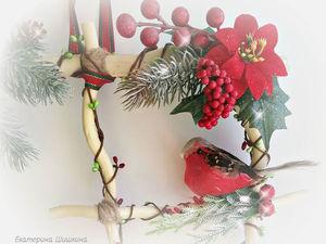 Новогоднее окошечко со снегирем!!!. Ярмарка Мастеров - ручная работа, handmade.