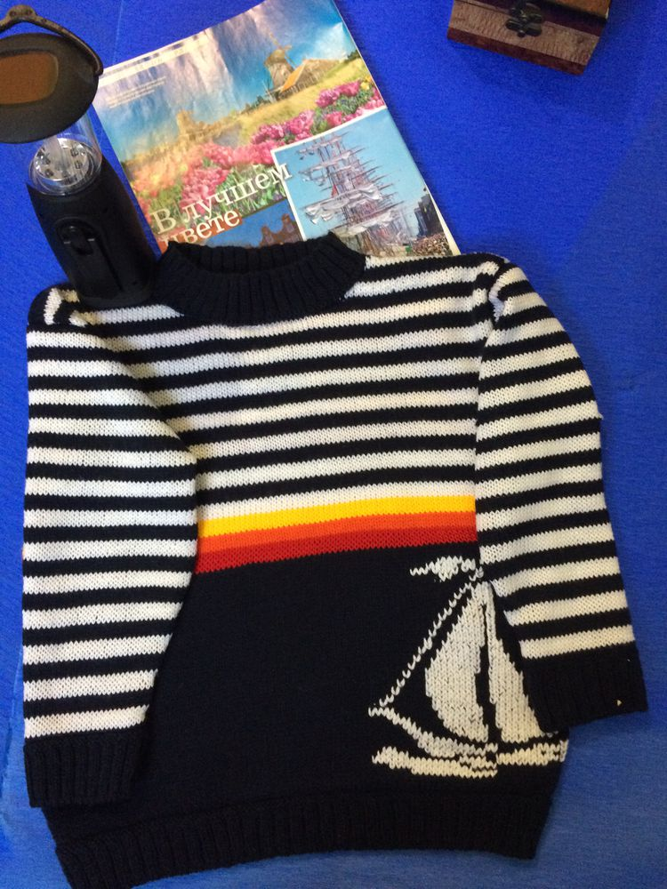 морская тематика, свитер вязаный, свитер для мальчика