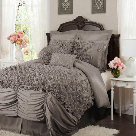 4 Piece Talia Comforter Set in Gray