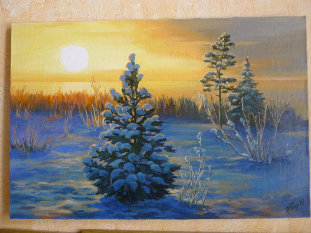 весеннее настроение, пейзаж маслом, русская зима