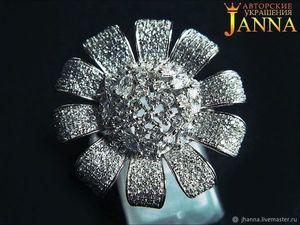 Кольцо с ювелирными фианитами бриллиантовой огранки ААА.. Ярмарка Мастеров - ручная работа, handmade.