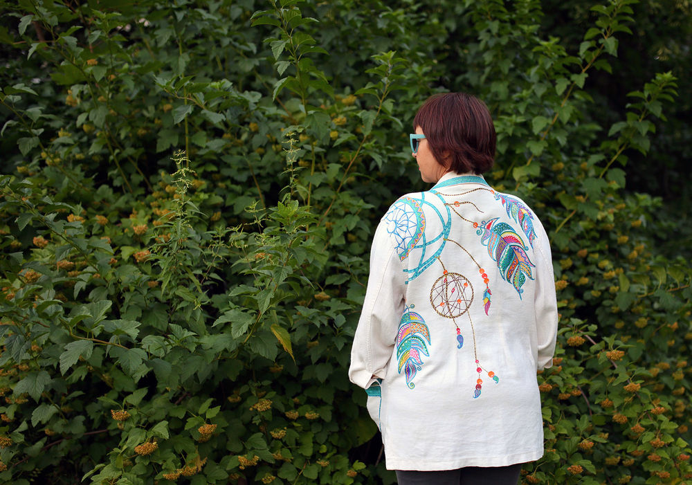 пиджак с росписью, купить льняной пиджак