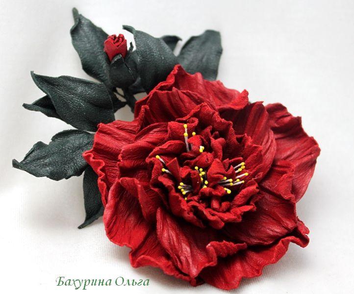 кожа натуральная, цветы, цветоделие, мастер-класс, роза из кожи, пвс