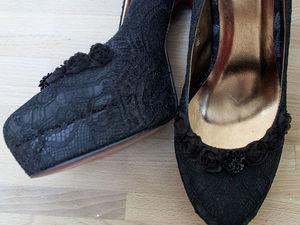 Декорируем туфли с помощью кружева и миниатюрных элементов. Ярмарка Мастеров - ручная работа, handmade.