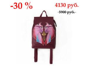 Скидка 30% на кожаный рюкзак с ручной росписью. | Ярмарка Мастеров - ручная работа, handmade