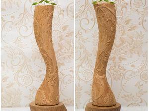 Аукцион!  Ваза ручной работы с резьбой по дереву. Ярмарка Мастеров - ручная работа, handmade.