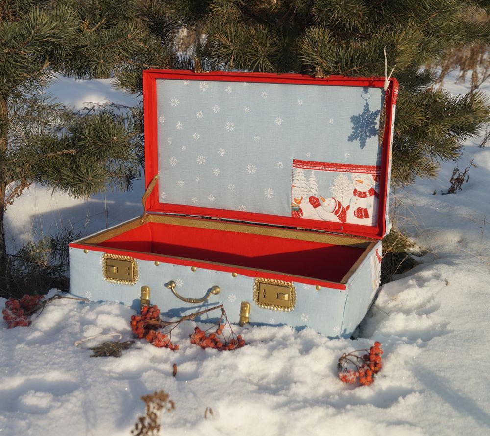 чемоданчик, ёлочные игрушки, декор витрины