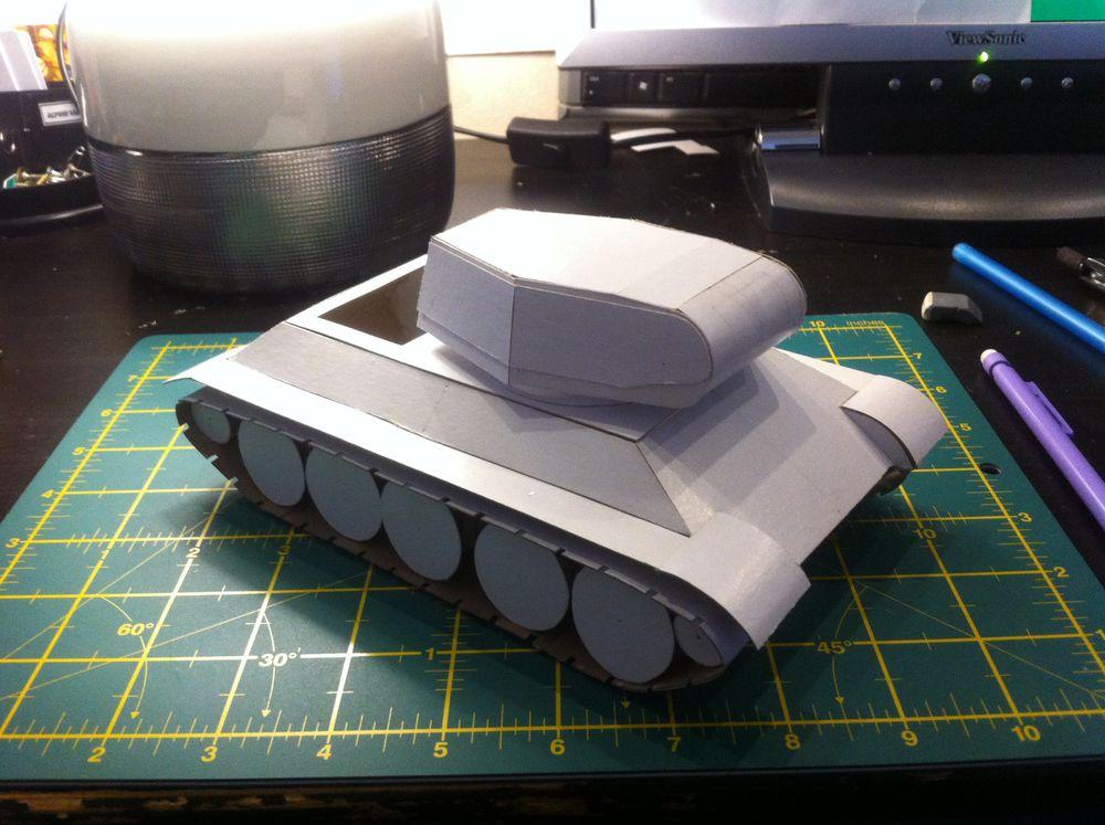 Как сделать макет танка т 34 из бумаги своими руками 86