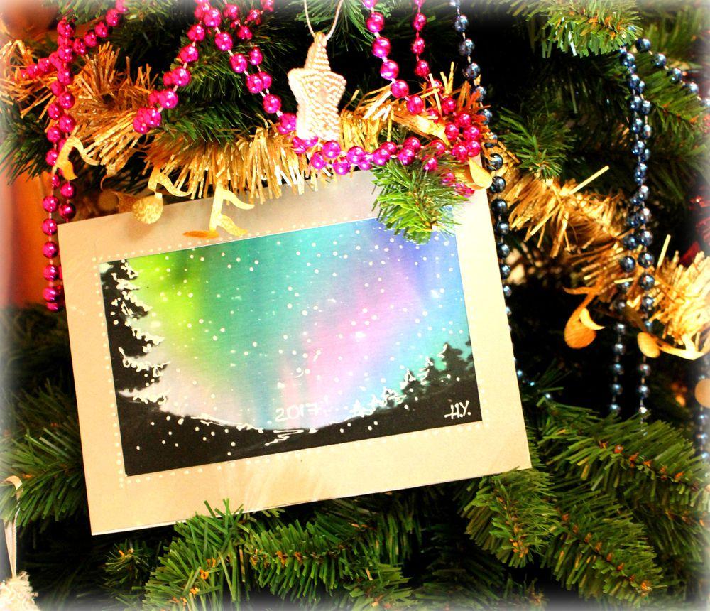новый год 2017, открытка ручной работы, роспись по ткани, зима 2017