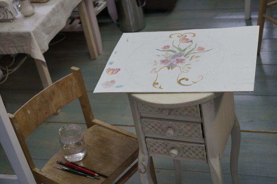 роспись мебели, мастер-класс по росписи
