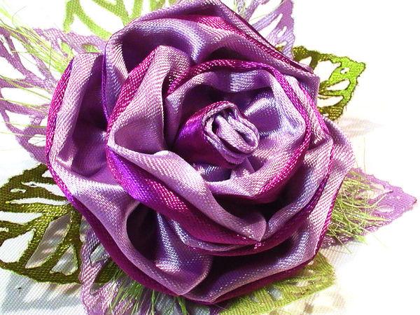 Видео мастер-класс: цветок канзаши на резинке для волос | Ярмарка Мастеров - ручная работа, handmade