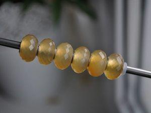 Натуральный желтый хальцедон для Pandora и Trollbeads в наличии. Ярмарка Мастеров - ручная работа, handmade.