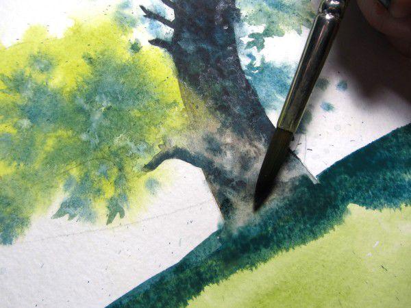 Как нарисовать дерево акварелью, фото № 19